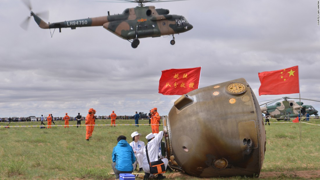 After the 15-day mission, the Shenzhou-10's return capsule landed successfully in Inner Mongolia on June 26, 2013.