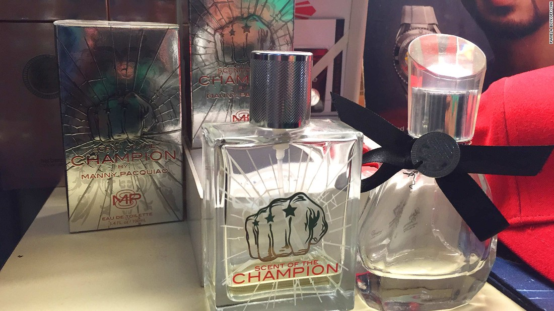 "There's no shortage of ""Pacman"" memorabilia at Manny Pacquiao's own store in Manila. You can even smell like him. This cologne -- Scent of a Champion --sells for about $20."