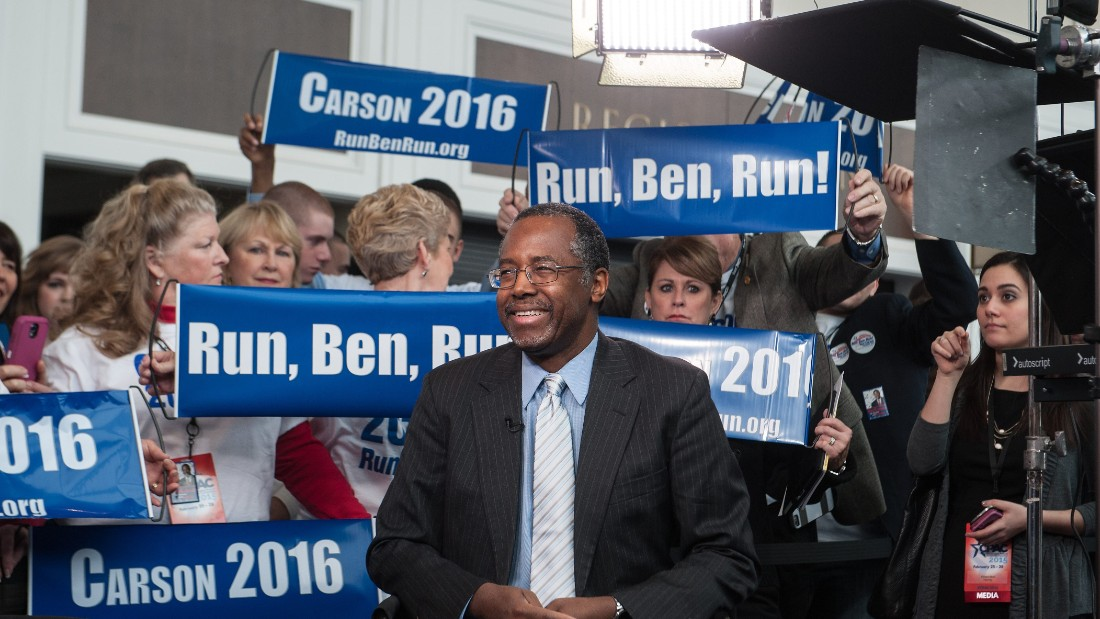 Carson is surrounded by supporters as he waits to be interviewed at the annual Conservative Political Action Conference (CPAC) at National Harbor, Maryland, outside Washington on February 26, 2015.