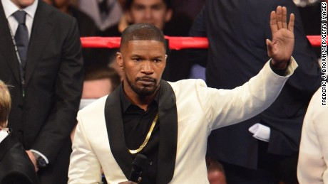 Jamie Foxx prepares to sing the National Anthem before the Floyd Mayweather Jr., and Manny Pacquiao fight in a welterweight unification bout.