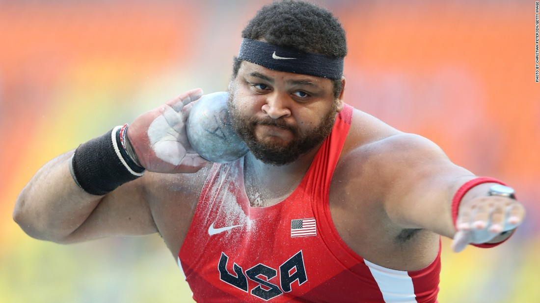 American shot-putter Reese Hoffa, who won a bronze medal at the 2012 Olympics, weighs in at 147 kg (324 lbs). His BMI of 45 is considered extremely obese.