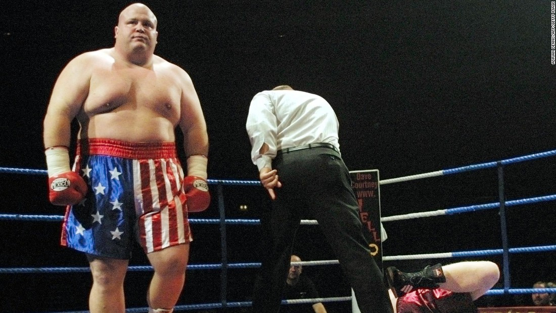 "Super-heavyweight fighter Eric ""Butterbean"" Esch (L) has 77 career victories in the ring. At 193 kg (425 lbs), he is one of the heaviest professional athletes in history. His BMI of nearly 59 is beyond categorization on the scale."