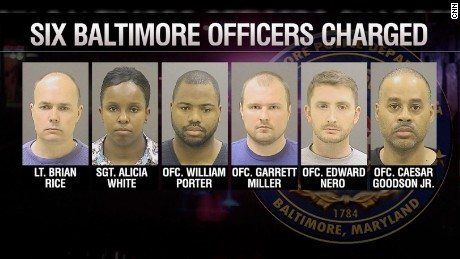 Six officers are charged in connection with Freddie Gray's death.