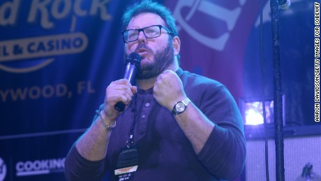 MIAMI BEACH, FL - FEBRUARY 21:  Award-winning Esquire writer Josh Ozersky onstage at the Seminole Hard Rock Hotel & Casino's Meatopia: The Q Revolution presented by Creekstone Farms hosted by Guy Fieri curated by Josh Ozersky during the 2015 Food Network & Cooking Channel South Beach Wine & Food Festival presented by FOOD & WINE at Beachside at Delano on February 21, 2015 in Miami Beach, Florida.  (Photo by Aaron Davidson/Getty Images for SOBEWFF)