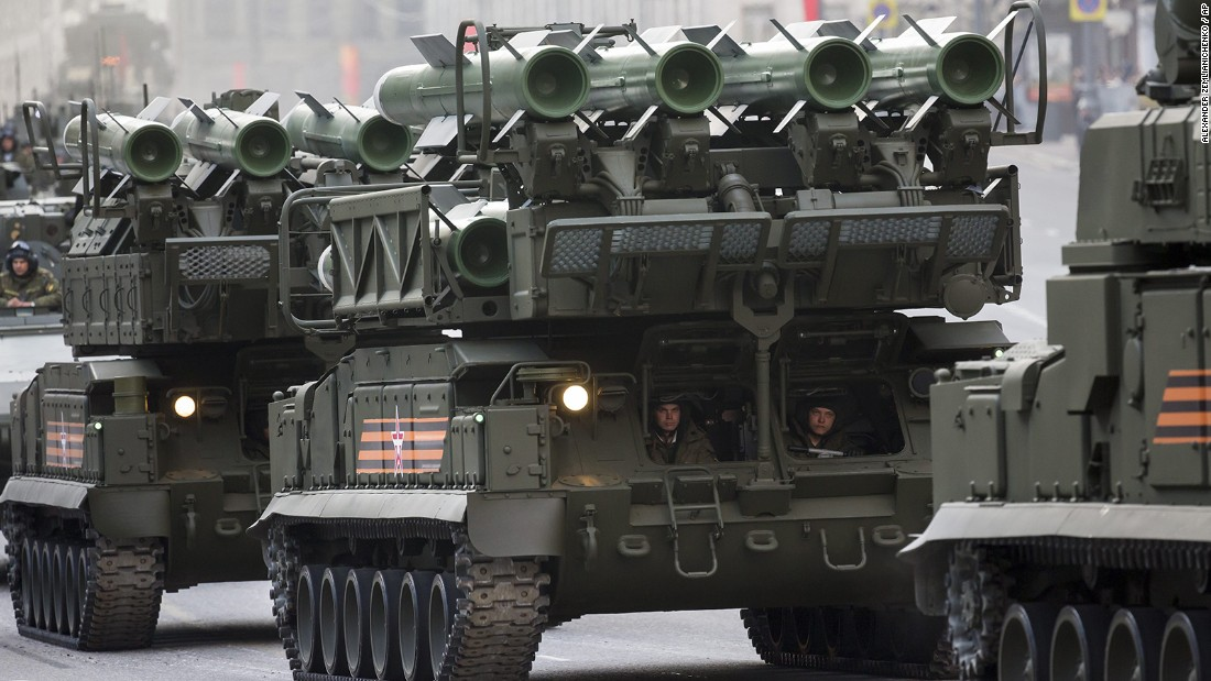 Russian military vehicles on Monday make their way to Red Square during a rehearsal for the Victory Day military parade.