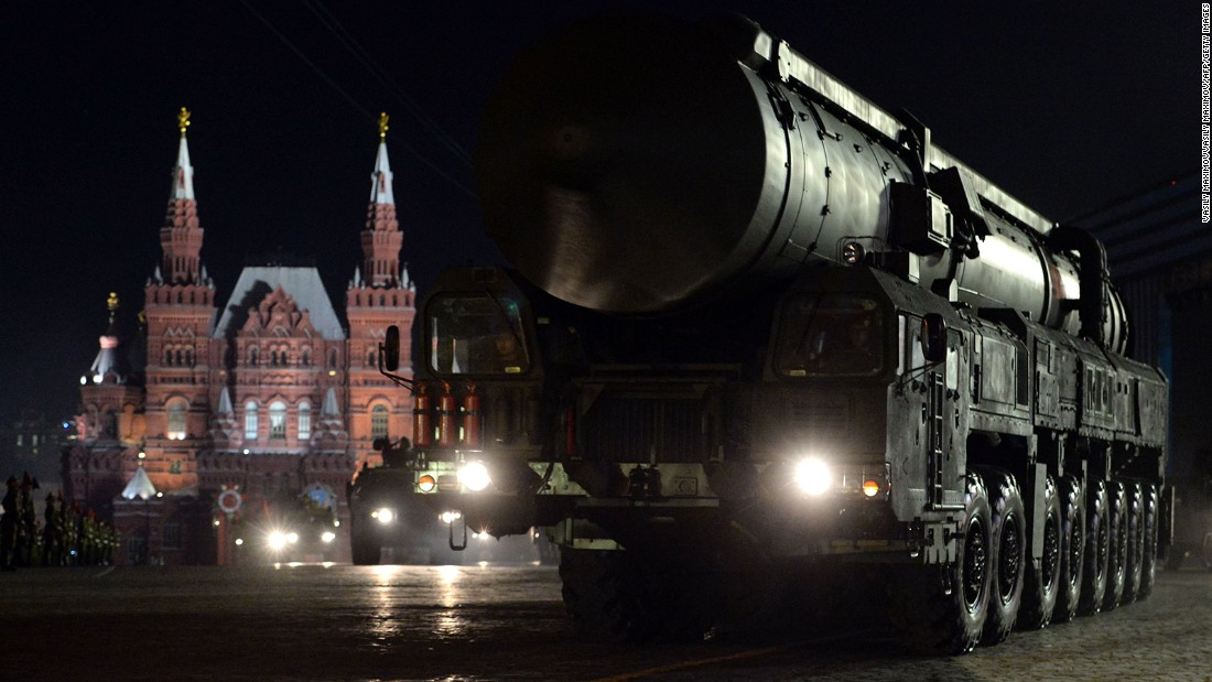 Russia's RS-24 Yars nuclear intercontinental ballistic missile launcher rides through Red Square in Moscow during the Victory Day military parade night training on May 4.