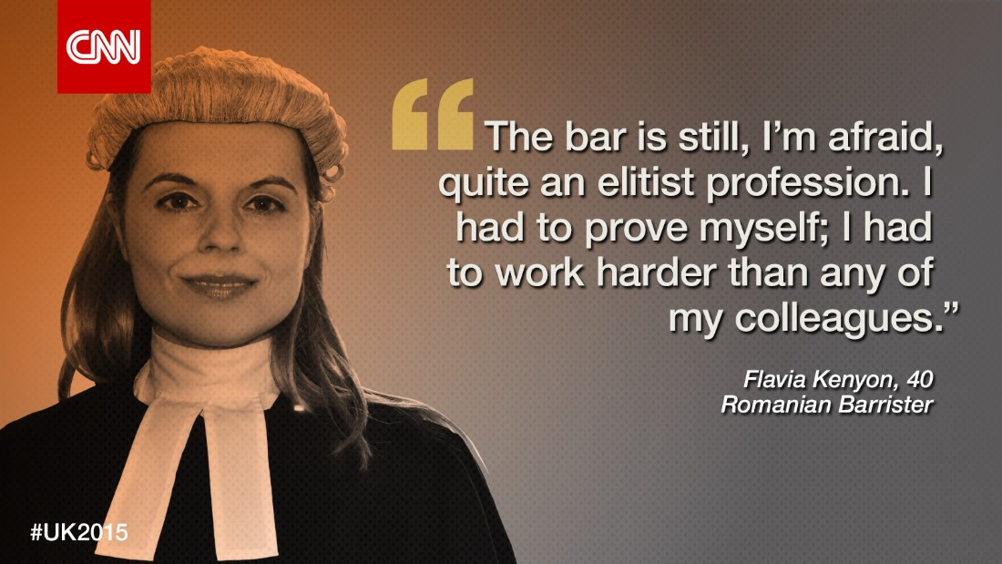 "<strong>Flavia Kenyon</strong>, 40, is the only Romanian criminal barrister in the UK. Growing up during the communist regime, she says, compelled her to fight against injustice. ""I had a happy childhood, don't get me wrong,"" she says, ""because my parents really made sure that I had everything I needed.""<br /><br />Her father, in particular, was very arty and into the Beatles; a big Anglophile who loved England and the English language.<br /><br />""But he couldn't study it at school when he was little, [so]  he made sure that I had a private tutor [at the age of eight],"" Kenyon recalls. ""And she used to come to my parent's flat, every week, and she used to teach me English and it transported me to a world that I very much wanted to be a part of.""<br /><br />The teaching however took place in secret, because the authorities frowned upon any influence from the West. ""We were truly behind the Iron Curtain and those were the dark moments of Romania.""<br /><br />But then revolution came to Romania in 1989. Kenyon worked with the BBC as an interpreter and later moved to the UK to study at Oxford, eventually marrying a BBC reporter.<br /><br />As a Romanian and now a British citizen settled in London, she says she has never felt discriminated against because of her background.<br /><br />""When I came in 1994, I came to the UK as a student. People were rather mesmerized when I told them I come from Romania, Transylvania. 'Does that exist?' 'Is that some sort of fairy tale country?'""<br /><br />After working for about two years for an advertising agency, Kenyon completed a conversion course in law and followed the long process of becoming a barrister. And she was up against a majority of British, male candidates.<br /><br />""The bar is still, I'm afraid, quite an elitist profession. It has changed, and it's changing, but it is hard. I had to prove myself; I had to work harder than any of my colleagues.""<br />But representing fellow Romanians and those vulnerable in society, Kenyon is motivated by the potential she has to make a difference to people's lives."