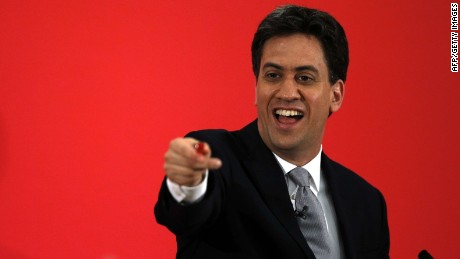 Opposition Labour Party Leader Ed Miliband speaks at a campaign event in Kempston near Bedford on May 5, 2015. Britain's political leaders today began a final push for votes ahead of Thursday's knife-edge election, even as they prepared for the likelihood of protracted coalition talks once polls close. AFP PHOTO / ADRIAN DENNISADRIAN DENNIS/AFP/Getty Images