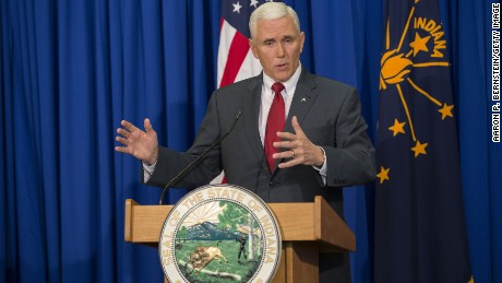 Gov. Pence speaks at a press conference on March 31, 2015 at the Indiana State Library in Indianapolis.