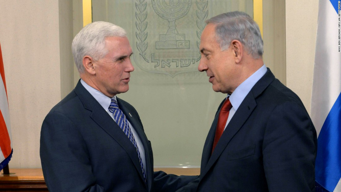Pence, left, shakes hands with Israeli Prime Minister Benjamin Netanyahu on December 29, 2014, in Jerusalem.