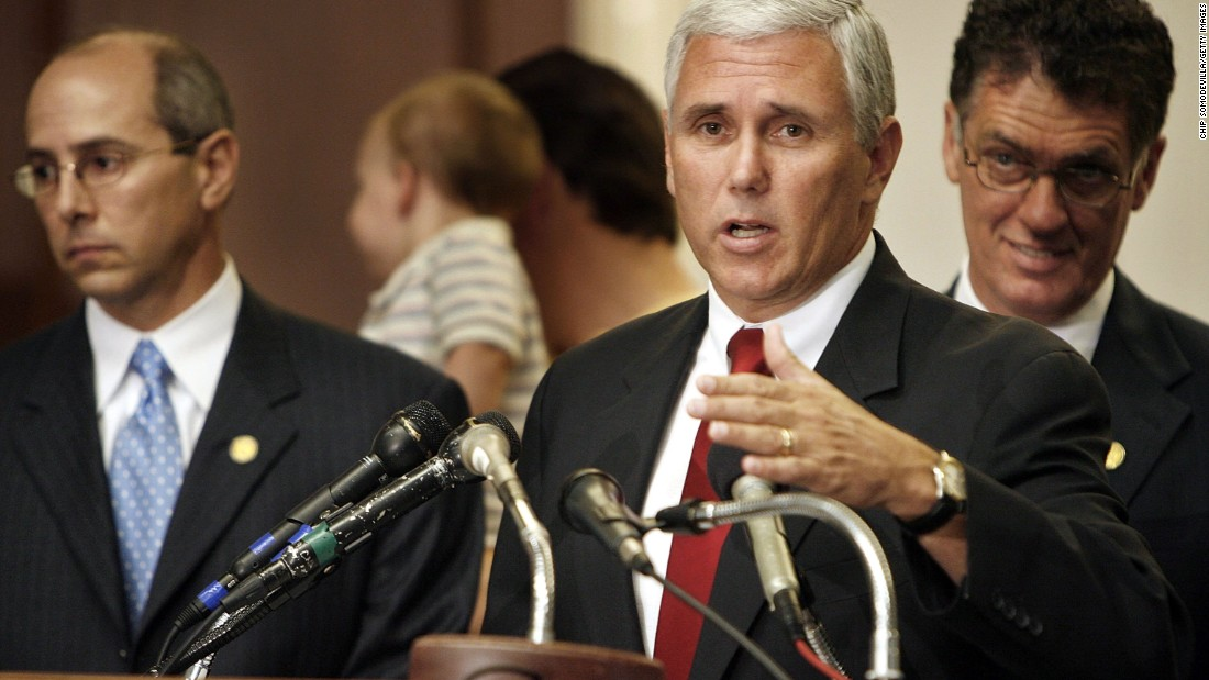 Rep. Charles Boustany of Louisiana, from left, Pence, and then-Rep. Dave Weldon of Florida hold a press conference urging President George W. Bush to veto a stem cell research bill on Capitol Hill on July 18, 2006.