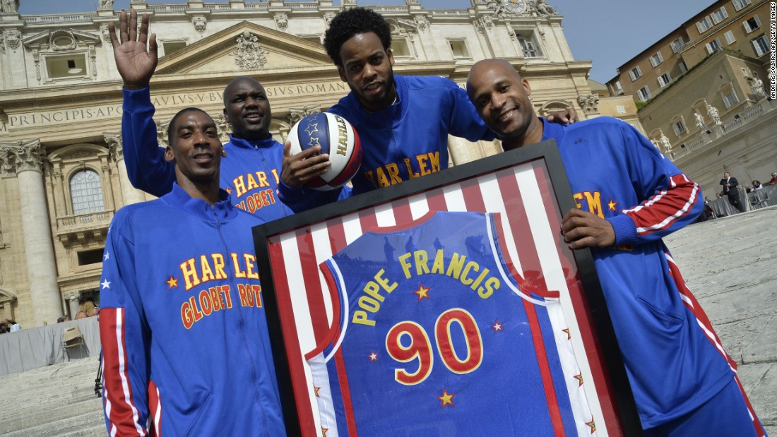 MAY 6 -- ROME, ITALY: Members of the Harlem Globe Trotters basketball team pose before the arrival of Pope Francis for his weekly general audience at St Peter's square