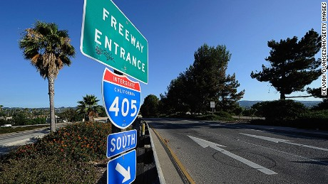 A freeway entrance sign stands near the Burbank Boulevard ramp on Interstate 405