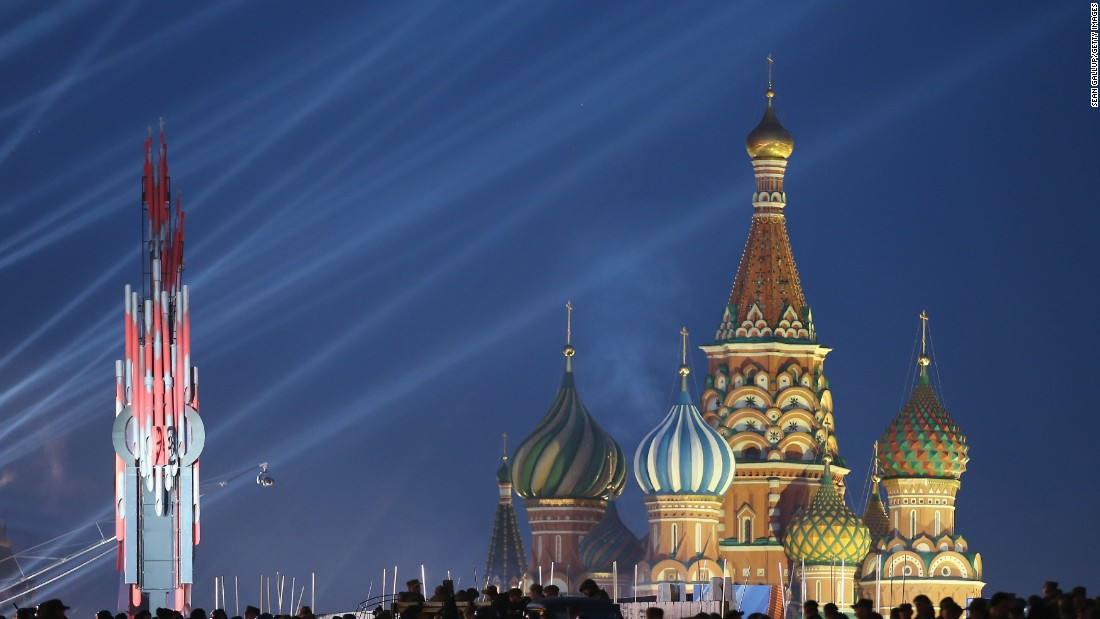 MAY 7 -- MOSCOW, RUSSIA: Red Square and Saint Basil's Cathedral stand illuminated during rehearsals ahead of celebrations to mark the 70th anniversary of the victory over Nazi Germany. Moscow will host a military parade among other events on May 9 to mark the occasion.