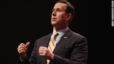 Former Pennsylvania Senator Rick Santorum speaks to guests gathered at the Point of Grace Church for the Iowa Faith and Freedom Coalition 2015 Spring Kickoff on April 25, 2015 in Waukee, Iowa.