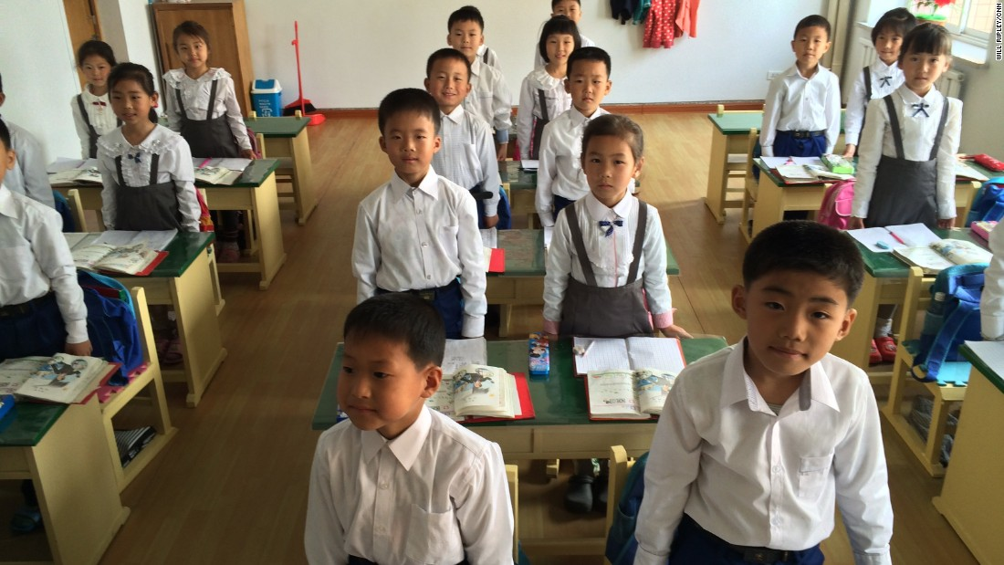 First-graders in a Pyongyang classroom are orderly yet energetic, often standing and giving spirited answers to their teacher's questions.