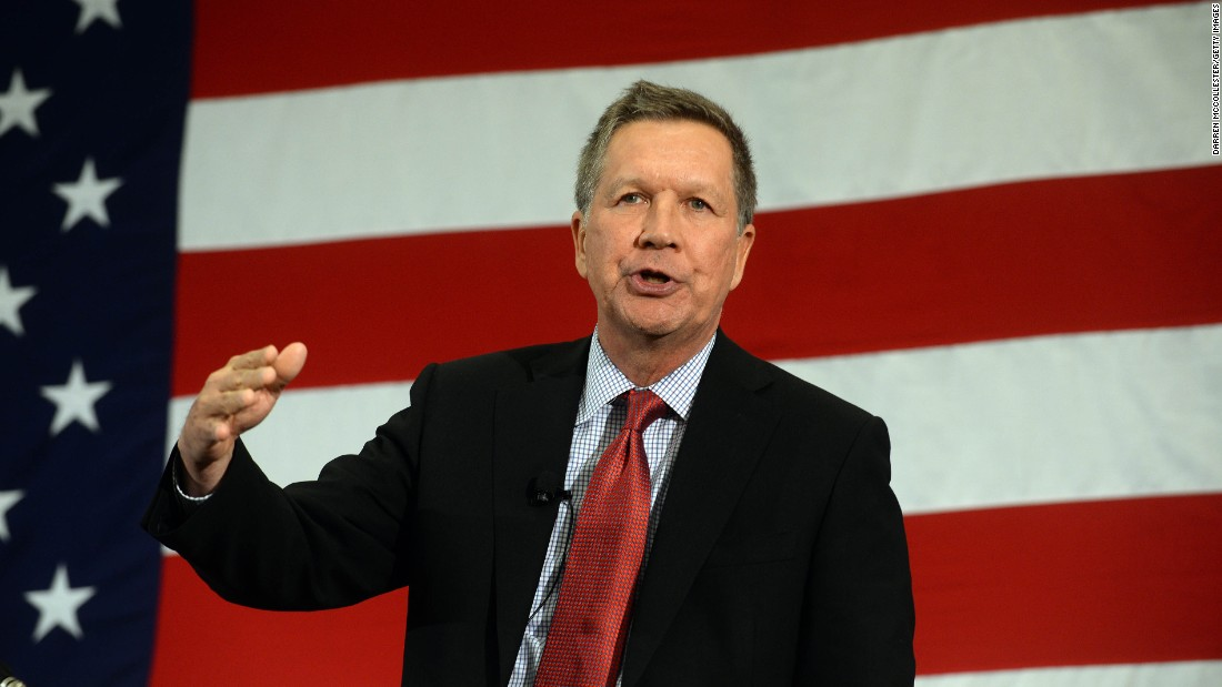 Ohio Gov. John Kasich speaks at the First in the Nation Republican Leadership Summit on April 18, 2015, in Nashua, New Hampshire. The summit was attended by all the 2016 Republican candidates as well as those eying a run for the nomination. Click through for more on the political career of Kasich: