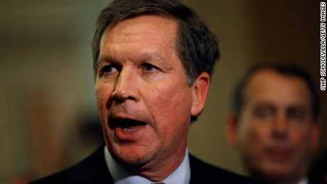Before taking office, Governor-elect Kasich talks with reporters after meeting with House and Senate Republican leaders at the U.S. Capitol on December 1, 2010. The GOP leaders talked about ways to create jobs, cut spending and ways to repeal the health care law.
