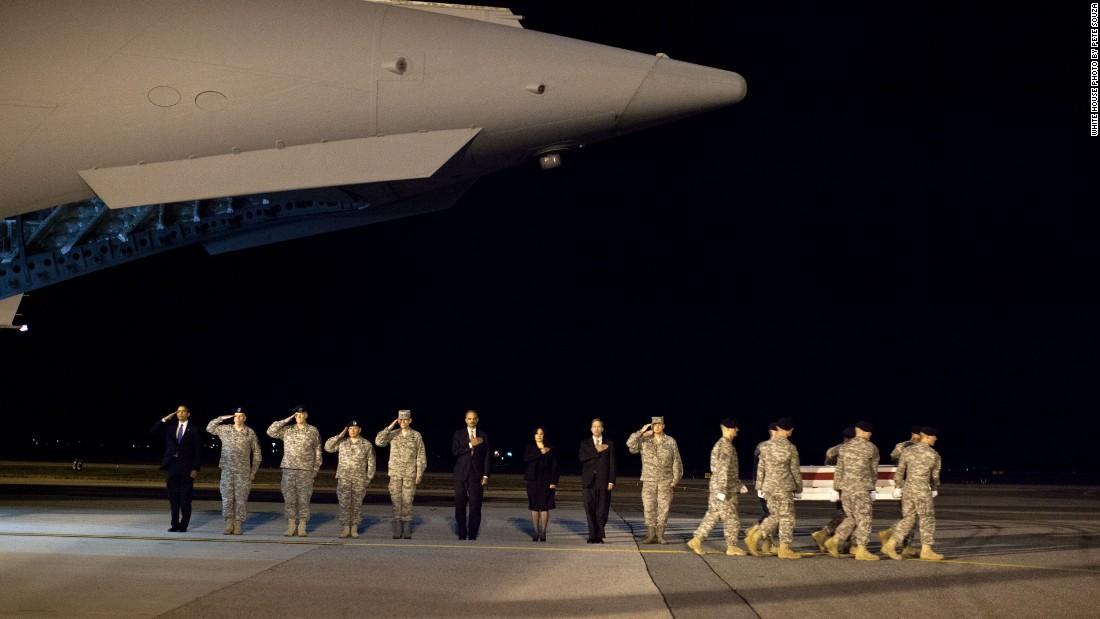 Honoring fallen soldiers from Afghanistan at Dover Air Force Base in Delaware on October 29, 2009.