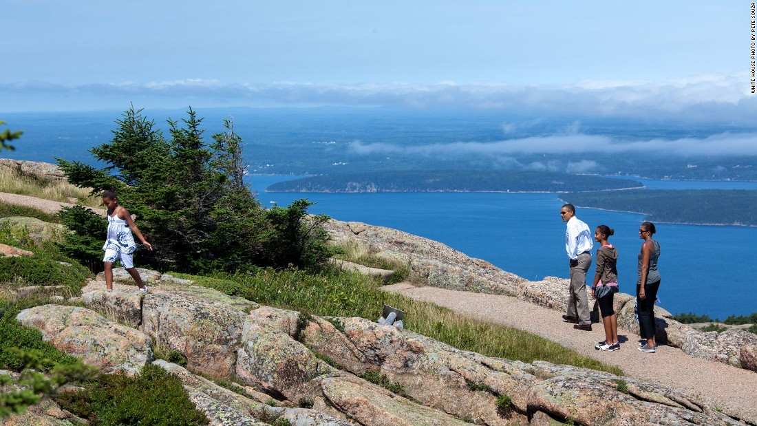 Hiking with the family on Cadillac Mountain at Acadia National Park in Maine on July 16, 2010.
