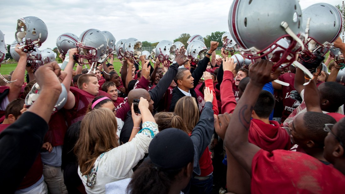 Cheering with the La Follette Lancers football team during their practice in Madison, Wisconsin, on September 28, 2010.