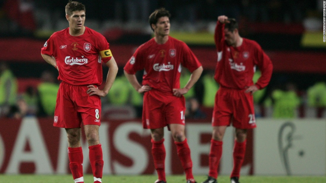Liverpool reached the 2005 Champions League final dreaming of a fifth victory in the competition -- but by halftime the English team trailed 3-0 to Milan in Istanbul. Milan scored in the very first minute of the tie through Paolo Maldini before striker Hernan Crespo added two more before the interval. Liverpool's hopes appeared to be in ruins.
