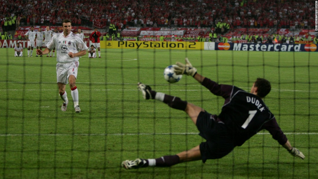 Having somehow taken the game into extra-time, Liverpool survived the extra 30 minutes thanks to goalkeeper Jerzy Dudek. With no further goals, it was left to the lottery of penalty kicks to decide the contest. Milan striker Andrei Shevchenko needed to score to stave off one of the most famous defeats in European football -- but when his penalty was saved those in red danced their way through the night in utter disbelief.