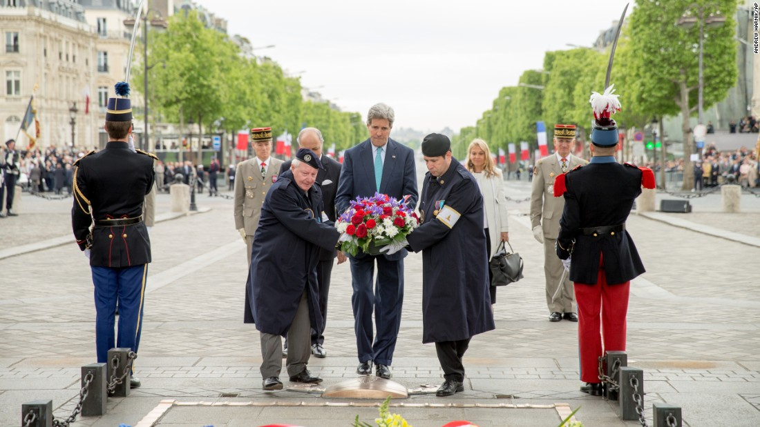 U.S. Secretary of State John Kerry lays a wreath at the Tomb of the Unknown Soldier in Paris.