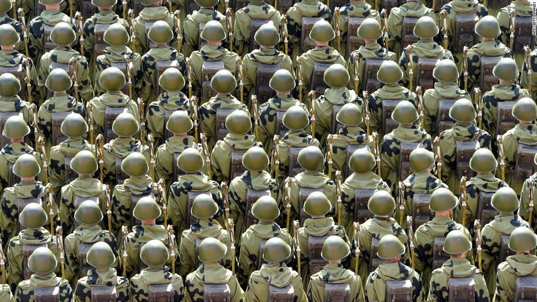 Russian soldiers march through Red Square during the Victory Day military parade in Moscow on May 9.