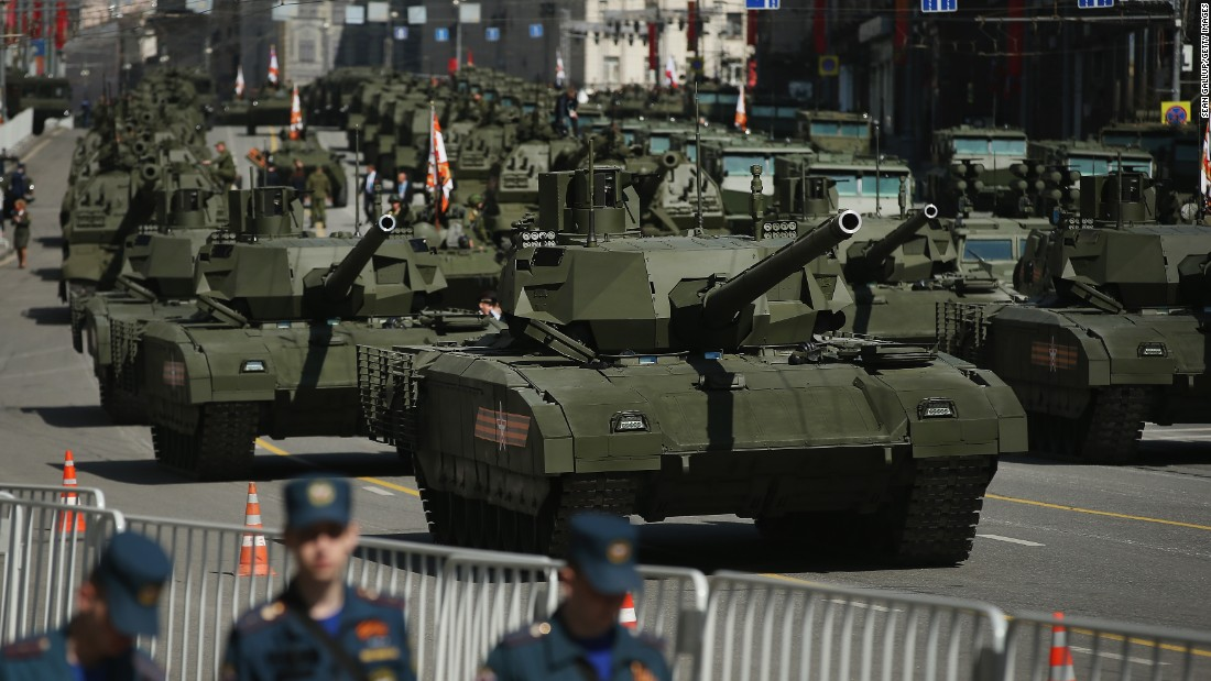 Russian Army T-14 Armata tanks prepare to participate in the annual Victory Parade at Red Square.