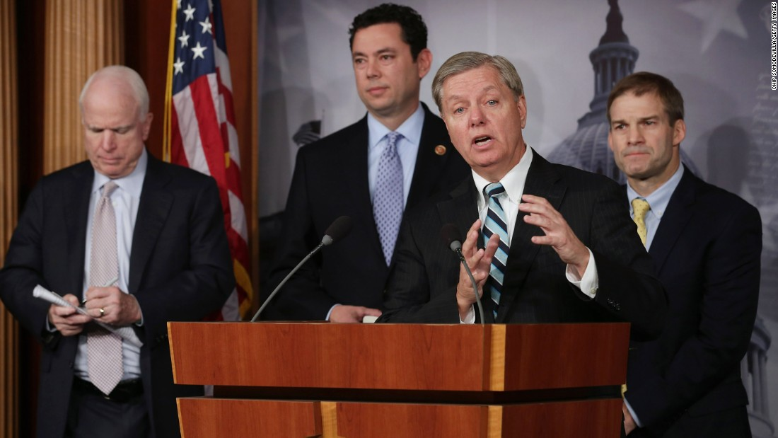 Graham holds a news conference on Benghazi, Libya, at the U.S. Capitol on October 30, 2013. From left, he is flanked by Sen. John McCain, R-Arizona; Rep. Jason Chaffetz, R-Utah; and Rep. Jim Jordan, R-Ohio. Graham has been an outspoken critic of how the Obama administration has handled the September 11, 2012, attack on the U.S. diplomatic, in which four U.S. citizens died.