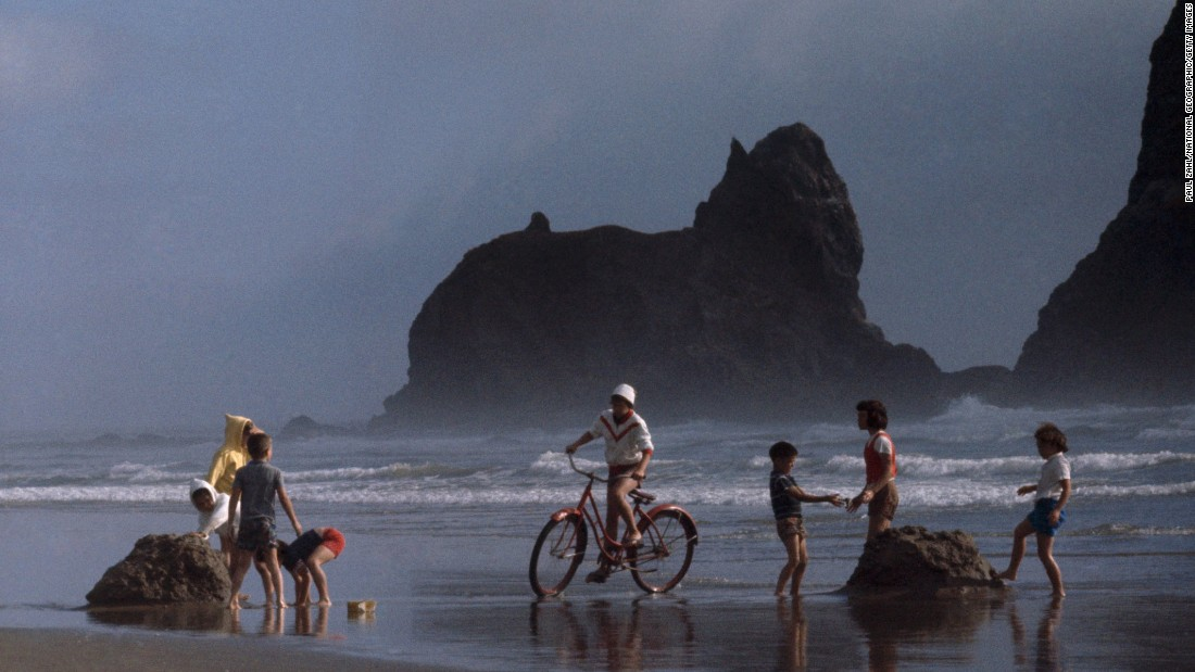 Oregon, where cyclists ride on Cannon Beach, slid one spot from No. 5 to No. 6 in 2015.
