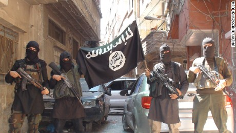 "A photo posted on internet on April 7, 2015 shows ISIS or Daesh (Daech) or ""Islamic State"" group militants posing in Yarmouk (Yarmuk) Palestinian camp, located in a suburb of Damascus, Syria, that is partially now under their control. Photo by Balkis Press/Sipa USA"