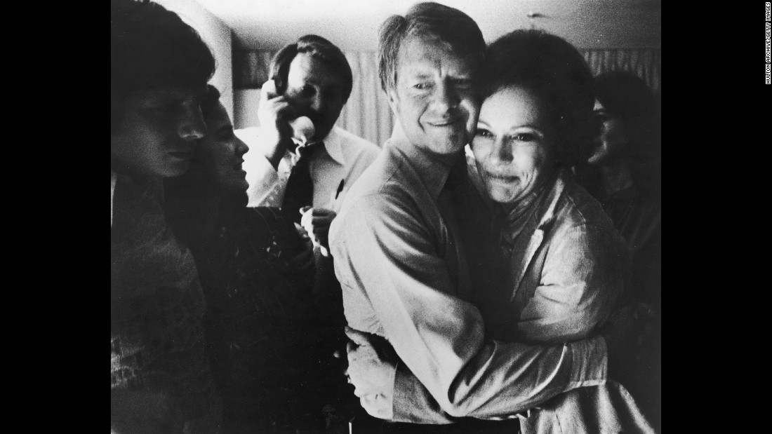 Jimmy Carter embraces his wife, Rosalynn, in November 1976 after he was elected as the 39th President of the United States. Carter, a Democrat and former governor of Georgia, defeated incumbent Gerald Ford. During his time in office, Carter created the Department of Energy and Department of Education. Since leaving the office in 1980, he has remained active in fighting for human rights and ending disease around the world with his nonprofit organization, the Carter Center.