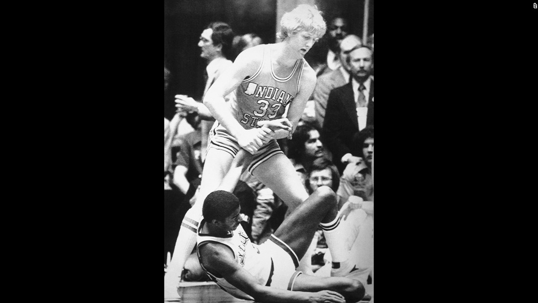 "The 1979 national championship game between Michigan State and Indiana State still ranks as the most-watched college basketball game of all time, thanks to two up-and-coming superstars: Michigan State's Earvin ""Magic"" Johnson, bottom, and Indiana State's Larry Bird. Johnson's Spartans won the NCAA title, but the two players' rivalry was only just beginning. During their pro careers in the NBA, Bird's Boston Celtics and Johnson's Los Angeles Lakers would meet in the NBA Finals three times in the '80s."