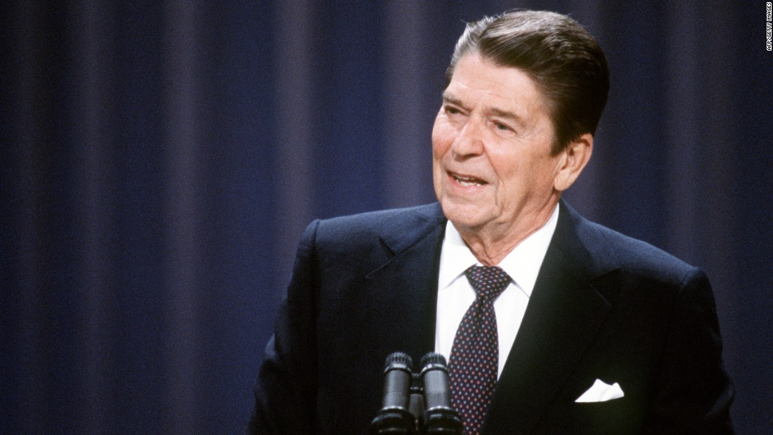 Reagan addresses the Republican National Convention in 1984.