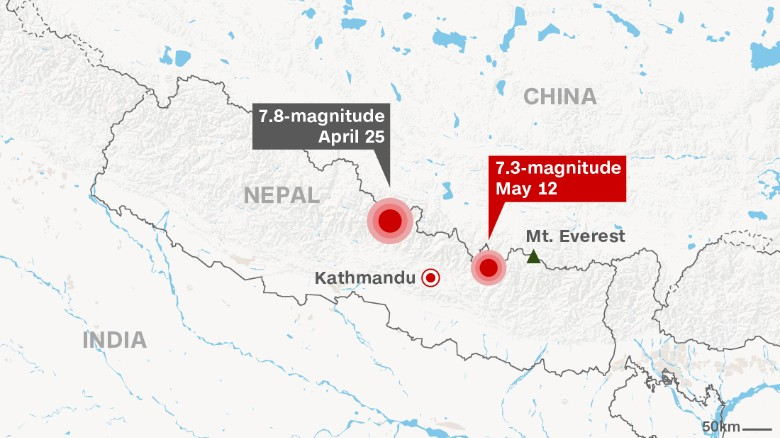 Dozens Killed In Latest Nepal Earthquake CNN - New us map after earthquake