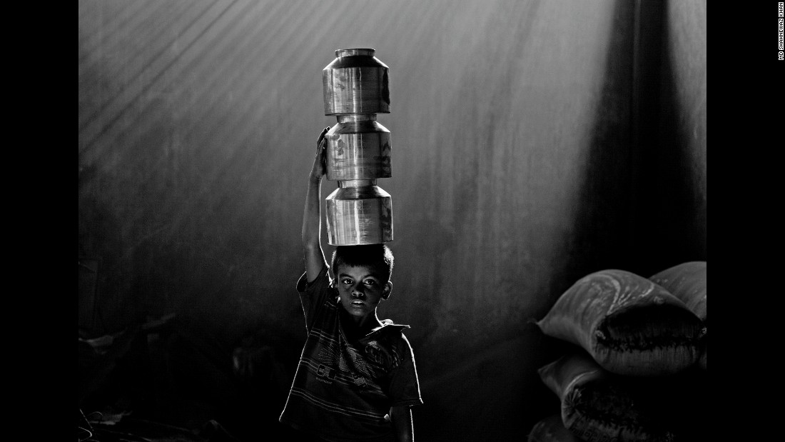 A child works at an aluminum factory in Chittagong.