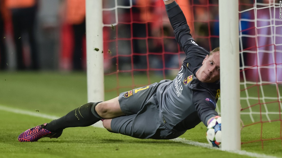 Barcelona's German goalkeeper Marc-Andre ter Stegen made a desperate save on the line from Robert Lewandowski to keep the score 2-1 at halftime.