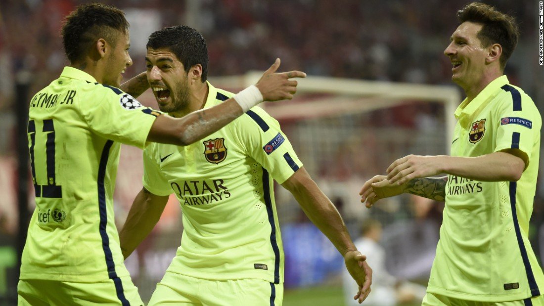 Neymar, Luis Suarez (center) and Lionel Messi (right) now have 114 goals between them for Barcelona this season.