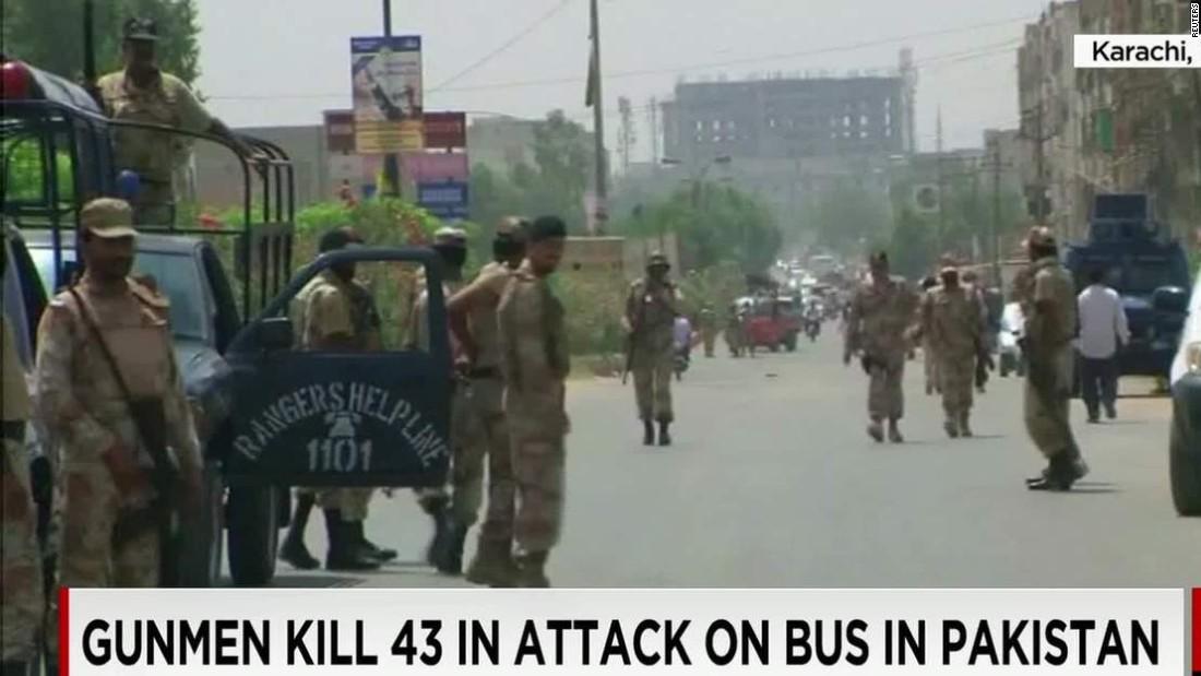 Gunmen in Pakistan kill 43 in attack on bus carrying religious minority
