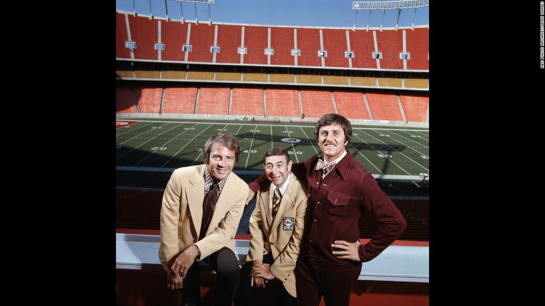 "On September 21, 1970, ABC and the NFL teamed up to find out if America was ready for some more football. The answer was a resounding yes, resulting in a ratings juggernaut. One of the secrets to its early success was the contrast between erudite sportscaster Howard Cosell, center, and folksy former quarterback ""Dandy"" Don Meredith, right. They started with Keith Jackson, left, who was replaced in 1971 by Frank Gifford."