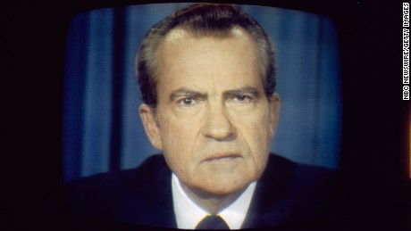 President Richard Nixon gives his resignation speech from the Oval Office at the White House in Washington D.C. on August 8, 1974.