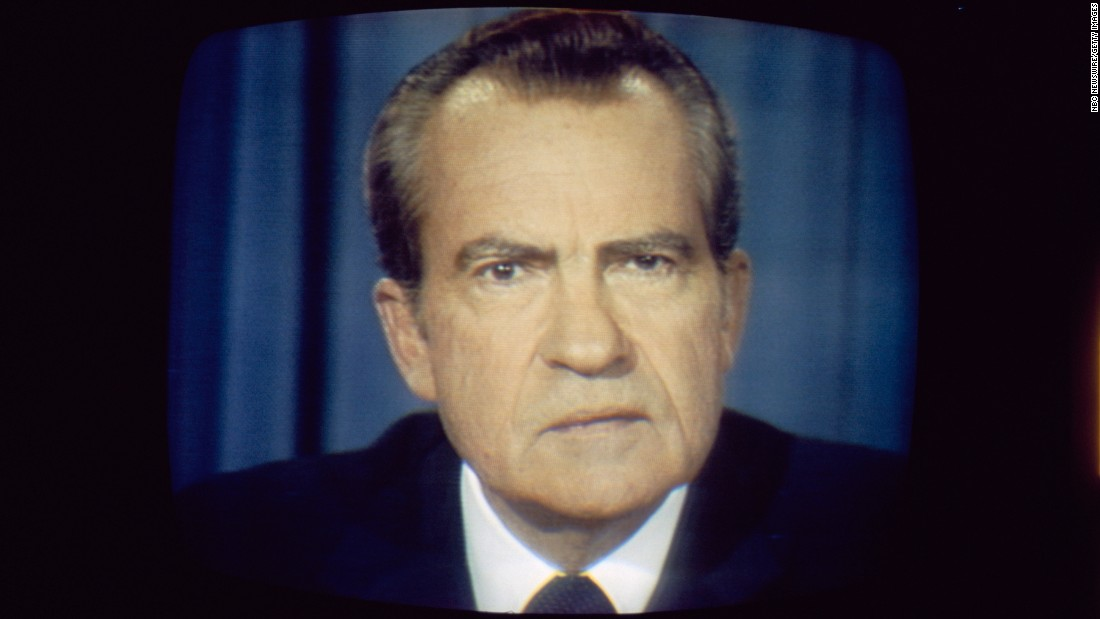 "Less than a year after declaring he was ""not a crook"" -- and 22 years after telling the nation ""I am not a quitter"" -- Nixon announced in a televised address that he would resign from office. ""In leaving it, I do so with this prayer: May God's grace be with you in all the days ahead,"" Nixon said in the address on August 8, 1974."