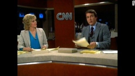 Lois Hart and Dave Walker at anchor desk from 1980
