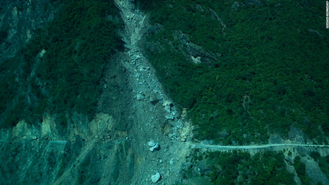 Debris from a landslide blocks a road in the Dolakha district in Nepal on May 14.