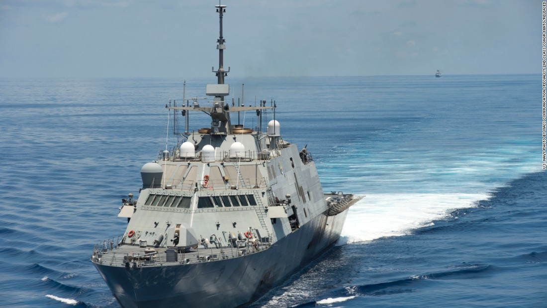 The USS Fort Worth (LCS 3) conducts patrols in international waters  of the South China Sea near the Spratly Islands as the Chinese guided-missile frigate Yancheng follows. The Fort Worth is a Freedom variant LCS. Ships of this variant are 387.6 feet in length with a beam of 57.7 feet and a displacement of 3,400 metric tons. Click through the gallery to see more of the LCS classes.