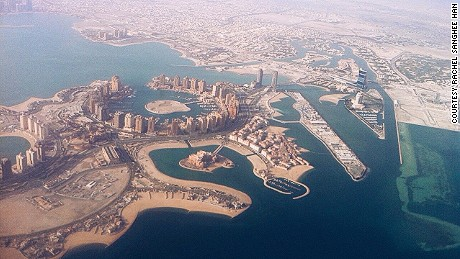 Qatar, shown from the air, has the world's higest fossil fuel subsidies per capita, according to the IMF.