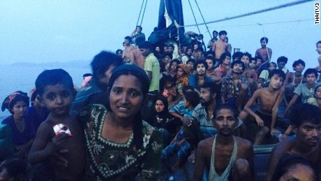 Hundreds of desperate Rohingya migrants on board.