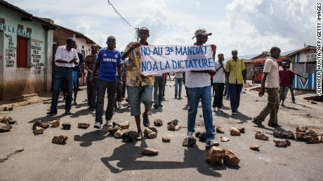 People demonstrate against Burundi President Pierre Nkurunziza's bid for the 3rd term in Nyakabiga neighborhood in Bujumbura on Saturday, May 16.